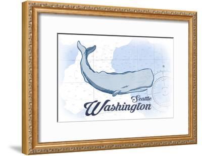 Seattle, Washington - Whale - Blue - Coastal Icon-Lantern Press-Framed Art Print