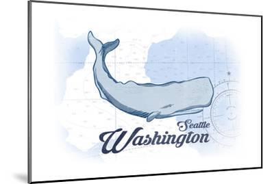 Seattle, Washington - Whale - Blue - Coastal Icon-Lantern Press-Mounted Art Print