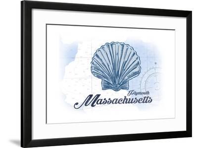 Plymouth, Massachusetts - Scallop Shell - Blue - Coastal Icon-Lantern Press-Framed Art Print