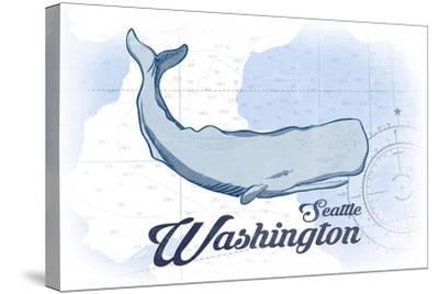Seattle, Washington - Whale - Blue - Coastal Icon-Lantern Press-Stretched Canvas Print