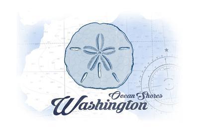 Ocean Shores, Washington - Sand Dollar - Blue - Coastal Icon-Lantern Press-Framed Art Print