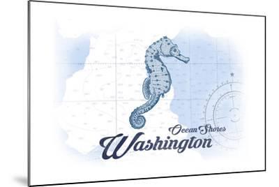 Ocean Shores, Washington - Seahorse - Blue - Coastal Icon-Lantern Press-Mounted Art Print