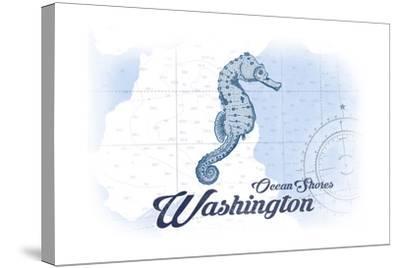 Ocean Shores, Washington - Seahorse - Blue - Coastal Icon-Lantern Press-Stretched Canvas Print