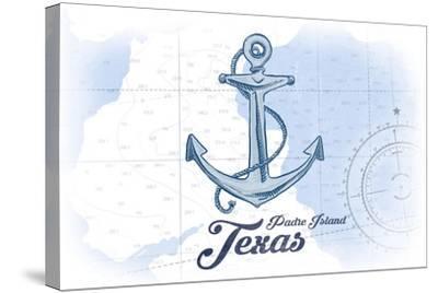 Padre Island, Texas - Anchor - Blue - Coastal Icon-Lantern Press-Stretched Canvas Print
