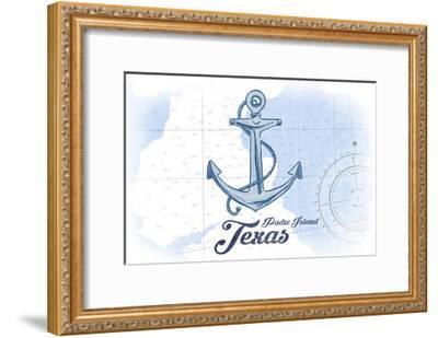 Padre Island, Texas - Anchor - Blue - Coastal Icon-Lantern Press-Framed Art Print