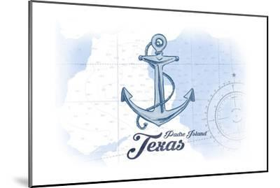 Padre Island, Texas - Anchor - Blue - Coastal Icon-Lantern Press-Mounted Art Print