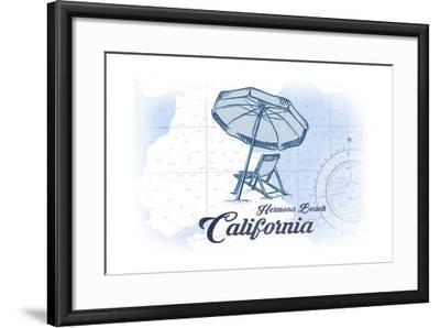 Hermosa Beach, California - Beach Chair and Umbrella - Blue - Coastal Icon-Lantern Press-Framed Art Print