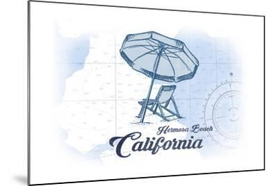 Hermosa Beach, California - Beach Chair and Umbrella - Blue - Coastal Icon-Lantern Press-Mounted Art Print