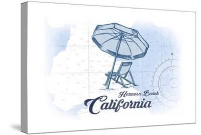 Hermosa Beach, California - Beach Chair and Umbrella - Blue - Coastal Icon-Lantern Press-Stretched Canvas Print