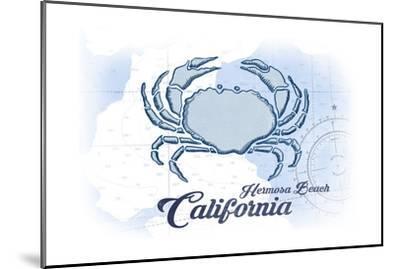 Hermosa Beach, California - Crab - Blue - Coastal Icon-Lantern Press-Mounted Art Print