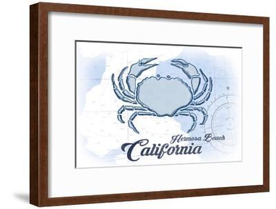 Hermosa Beach, California - Crab - Blue - Coastal Icon-Lantern Press-Framed Art Print
