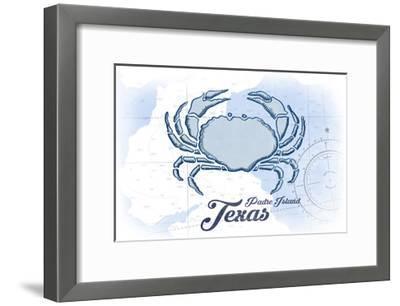 Padre Island, Texas - Crab - Blue - Coastal Icon-Lantern Press-Framed Art Print