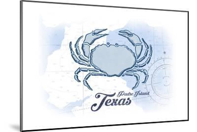 Padre Island, Texas - Crab - Blue - Coastal Icon-Lantern Press-Mounted Art Print