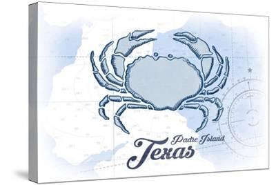 Padre Island, Texas - Crab - Blue - Coastal Icon-Lantern Press-Stretched Canvas Print
