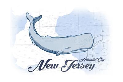 Atlantic City, New Jersey - Whale - Blue - Coastal Icon-Lantern Press-Framed Art Print