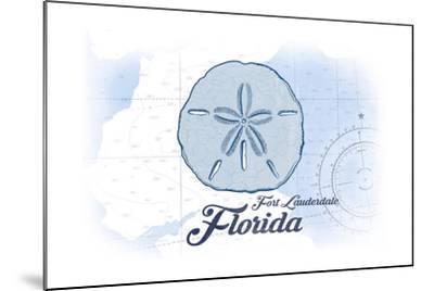 Fort Lauderdale, Florida - Sand Dollar - Blue - Coastal Icon-Lantern Press-Mounted Art Print
