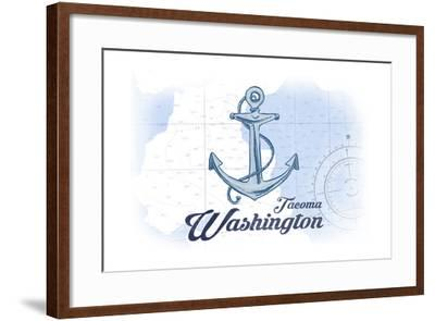Tacoma, Washington - Anchor - Blue - Coastal Icon-Lantern Press-Framed Art Print