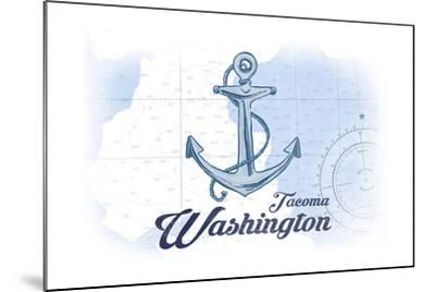 Tacoma, Washington - Anchor - Blue - Coastal Icon-Lantern Press-Mounted Art Print