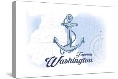 Tacoma, Washington - Anchor - Blue - Coastal Icon-Lantern Press-Stretched Canvas Print