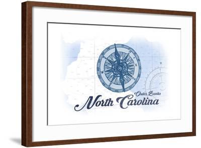 Outer Banks, North Carolina - Compass - Blue - Coastal Icon-Lantern Press-Framed Art Print