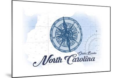 Outer Banks, North Carolina - Compass - Blue - Coastal Icon-Lantern Press-Mounted Art Print