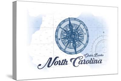 Outer Banks, North Carolina - Compass - Blue - Coastal Icon-Lantern Press-Stretched Canvas Print