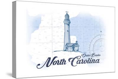 Outer Banks, North Carolina - Lighthouse - Blue - Coastal Icon-Lantern Press-Stretched Canvas Print