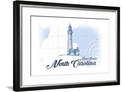 Outer Banks, North Carolina - Lighthouse - Blue - Coastal Icon-Lantern Press-Framed Art Print