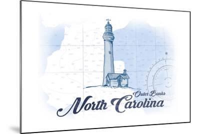 Outer Banks, North Carolina - Lighthouse - Blue - Coastal Icon-Lantern Press-Mounted Art Print