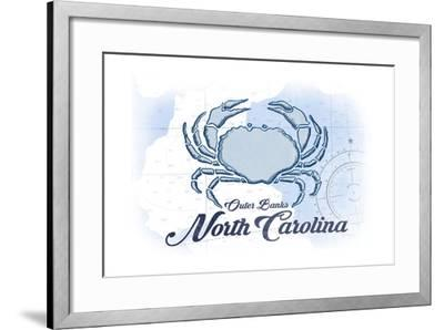 Outer Banks, North Carolina - Crab - Blue - Coastal Icon-Lantern Press-Framed Art Print