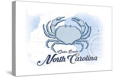 Outer Banks, North Carolina - Crab - Blue - Coastal Icon-Lantern Press-Stretched Canvas Print