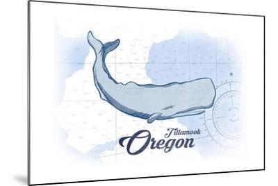Tillamook, Oregon - Whale - Blue - Coastal Icon-Lantern Press-Mounted Art Print