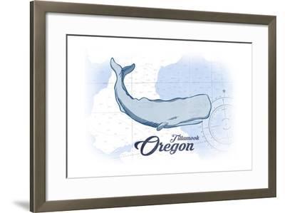 Tillamook, Oregon - Whale - Blue - Coastal Icon-Lantern Press-Framed Art Print