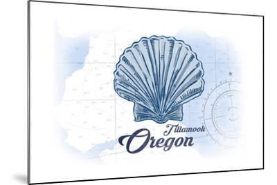 Tillamook, Oregon - Scallop Shell - Blue - Coastal Icon-Lantern Press-Mounted Art Print