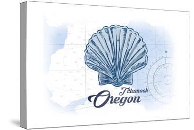 Tillamook, Oregon - Scallop Shell - Blue - Coastal Icon-Lantern Press-Stretched Canvas Print
