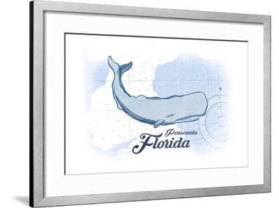 Pensacola, Florida - Whale - Blue - Coastal Icon-Lantern Press-Framed Art Print