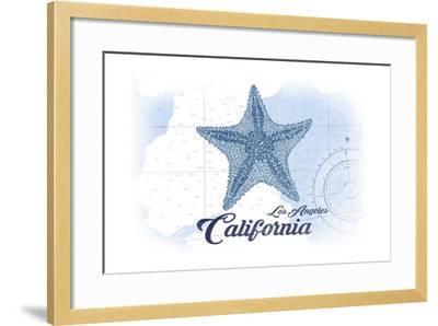 Los Angeles, California - Starfish - Blue - Coastal Icon-Lantern Press-Framed Art Print