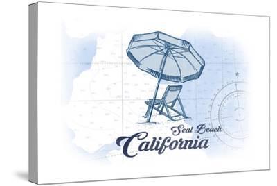 Seal Beach, California - Beach Chair and Umbrella - Blue - Coastal Icon-Lantern Press-Stretched Canvas Print