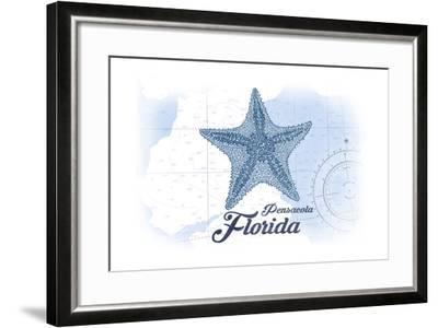 Pensacola, Florida - Starfish - Blue - Coastal Icon-Lantern Press-Framed Art Print