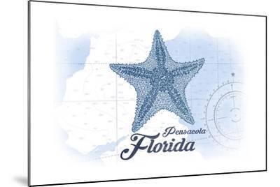 Pensacola, Florida - Starfish - Blue - Coastal Icon-Lantern Press-Mounted Art Print