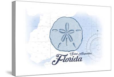 Saint Augustine, Florida - Sand Dollar - Blue - Coastal Icon-Lantern Press-Stretched Canvas Print