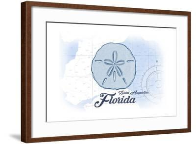 Saint Augustine, Florida - Sand Dollar - Blue - Coastal Icon-Lantern Press-Framed Art Print
