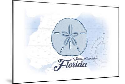 Saint Augustine, Florida - Sand Dollar - Blue - Coastal Icon-Lantern Press-Mounted Art Print