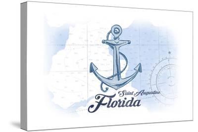 Saint Augustine, Florida - Anchor - Blue - Coastal Icon-Lantern Press-Stretched Canvas Print
