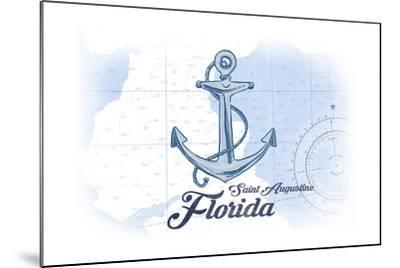 Saint Augustine, Florida - Anchor - Blue - Coastal Icon-Lantern Press-Mounted Art Print
