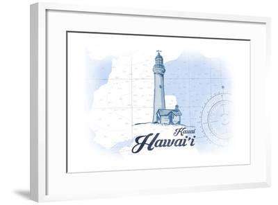 Kauai, Hawaii - Lighthouse - Blue - Coastal Icon-Lantern Press-Framed Art Print