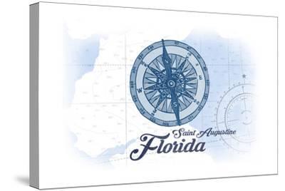 Saint Augustine, Florida - Compass - Blue - Coastal Icon-Lantern Press-Stretched Canvas Print