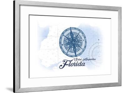 Saint Augustine, Florida - Compass - Blue - Coastal Icon-Lantern Press-Framed Art Print