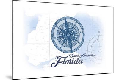 Saint Augustine, Florida - Compass - Blue - Coastal Icon-Lantern Press-Mounted Art Print