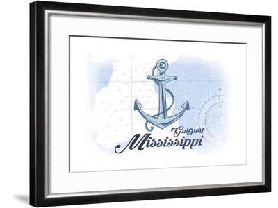 Gulfport, Mississippi - Anchor - Blue - Coastal Icon-Lantern Press-Framed Art Print